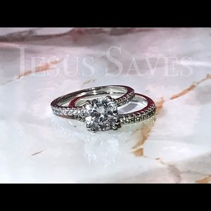 Jewelry - Silver Tone CZ Solitaire Rings 2pc